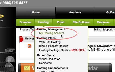 how to find database host name on godaddy
